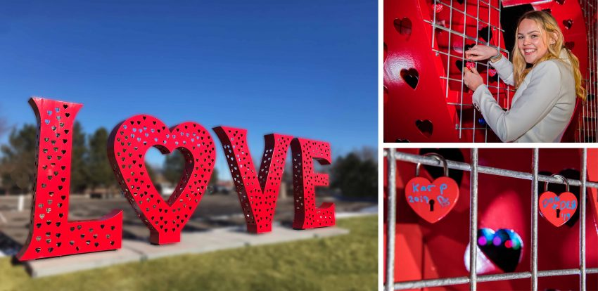 Anchoring the Valentine's event is one of the largest love lock sculptures in the U.S. Photo credit: inaugural Loveland Sweetheart Festival - Love, Locks and Lights