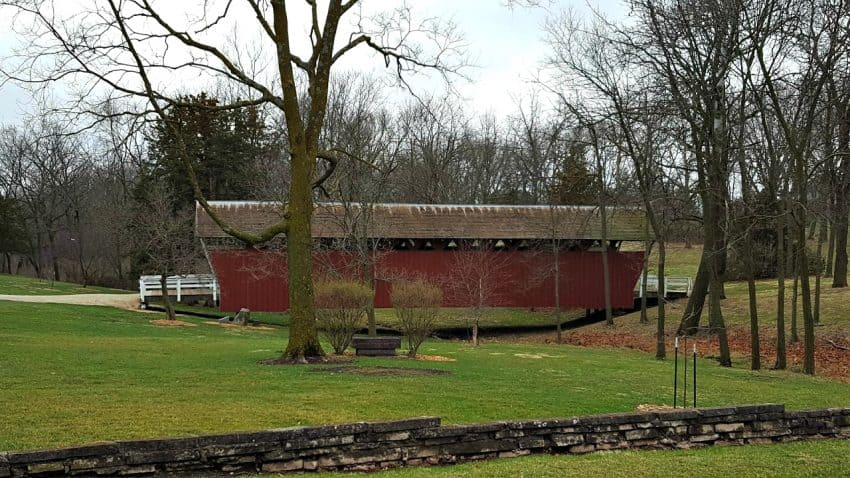 Known as the covered bridge capital of the world, Winterset, Iowa area features six covered bridges inspired the novel and movie, Bridges of Madison County.