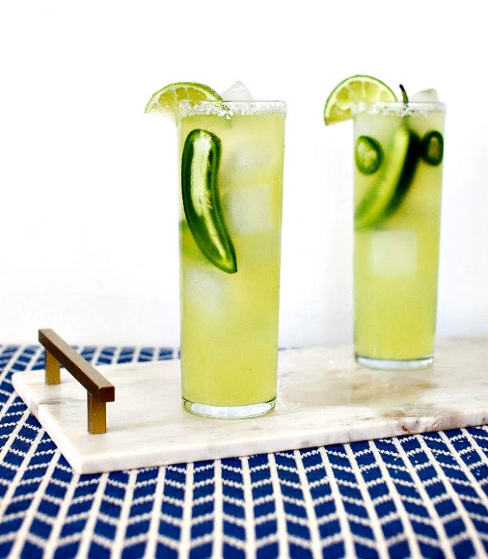 """Yes you can mix Margaritas for St. Patrick's Day cocktails and this """"green"""" Spicy Sparkling Margarita is perfect."""