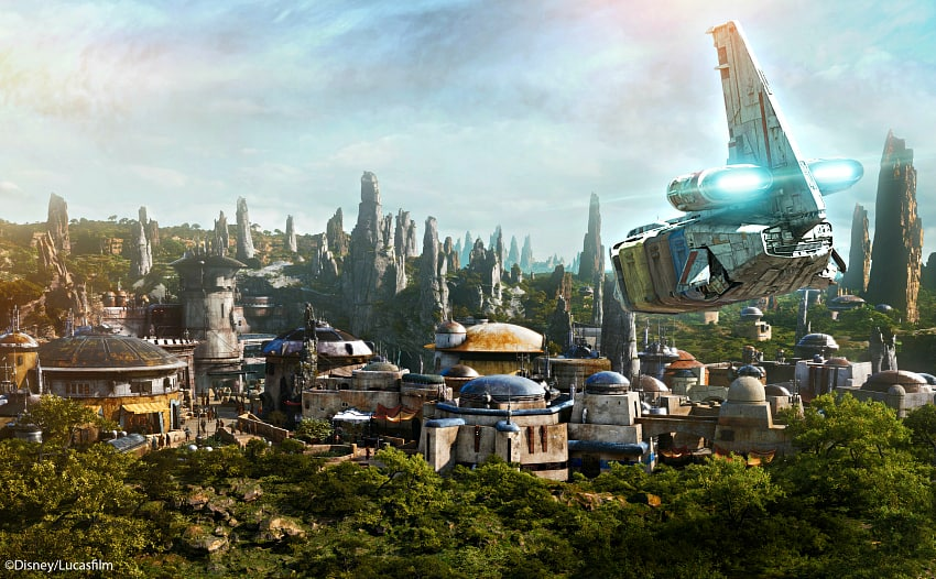 Star Wars: Galaxy's Edge opened May 31, 2019, at Disneyland Park in Anaheim, California, and Aug. 29, 2019, at Disney's Hollywood Studios in Lake Buena Vista, Florida. At 14 acres each, Star Wars: Galaxy's Edge will be Disney's largest single-themed land expansions ever, transporting guests to live their own Star Wars adventures in Black Spire Outpost, a village on the remote planet of Batuu, full of unique sights, sounds, smells and tastes. Guests can become part of the story as they sample galactic food and beverages, explore an intriguing collection of merchant shops and take the controls of the most famous ship in the galaxy aboard Millennium Falcon: Smugglers Run. (Disney Parks)
