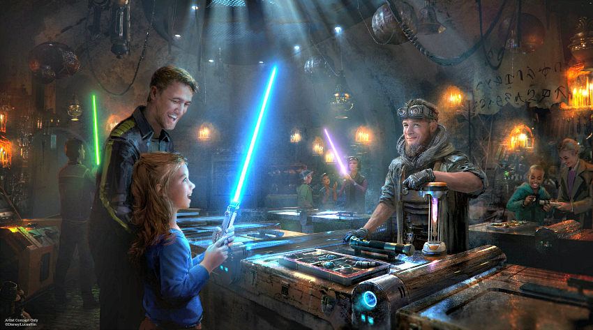 Exotic finds can be found throughout Star Wars: Galaxy's Edge when it opens May 31, 2019, at Disneyland Park in Anaheim, California. At Savi's Workshop - Handbuilt Lightsabers, guests will have the opportunity to customize and craft their own lightsabers. In this exclusive experience, guests will feel like a Jedi as they build these elegant weapons from a more civilized age. Photo: Disney Parks