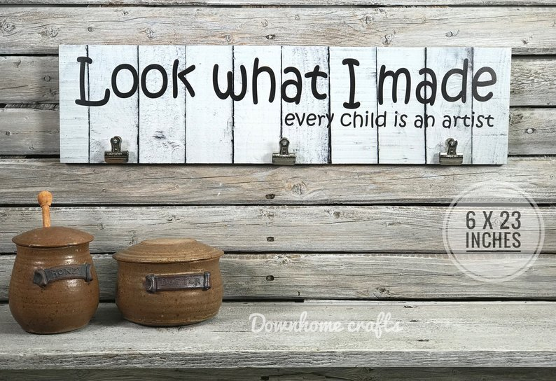 Even (especially!) Grandmoms like to memoralize their grandkids art projects. Photo: Etsy
