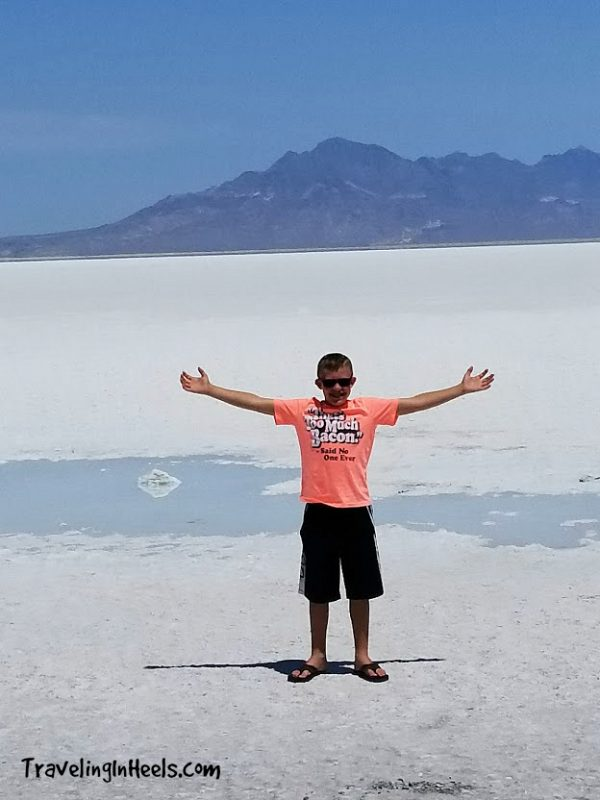 Family road trip tips include stopping often -- and you never know what sights you'll see, such as Utah's Salt Flats as a backdrop for a rest area.