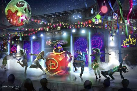"""During Oogie Boogie Bash – A Disney Halloween Party at Disney California Adventure Park, a new pulsing party will rock the Backlot area of Hollywood Land inspired by the popular """"Descendants"""" franchise from Disney Channel. As the DescenDANCE begins, a spell is cast, summoning the greatest dance crew from the Isle of the Lost to throw down and lead everyone in moves that are set to the biggest hit songs from the """"Descendants"""" movies. Once the DescenDANCE crew returns to their realm, the Backlot DJ continues to spin tunes that will make any """"villain kid"""" proud, inviting everyone to step onto the dance floor into the night. Oogie Boogie Bash – A Disney Halloween Party is offered on 20 select nights this fall, starting Sept. 17, 2019. Photo: (Disneyland Resort)"""