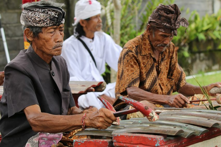 Gamelan (/ˈɡæməlæn/[1]) is the traditional ensemble music of Java and Bali in Indonesia, made up predominantly of percussive instruments.