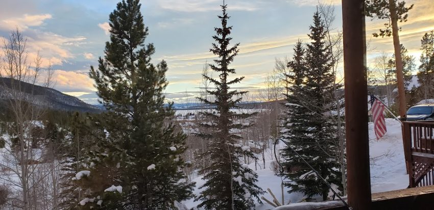 Views like these are one of many reasons to opt for cabin rentals in the mountains, including this gem, the Overlook in Grand Lake, Colorado, near the Rocky Mountain