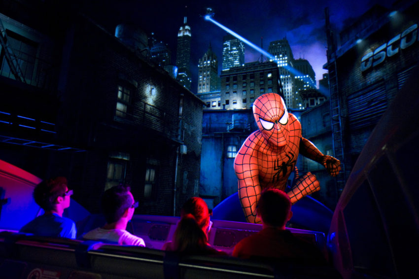 """The Amazing Adventures of Spider-Man – one of the world's most popular theme park experiences – features stunning enhancements, including 4K digital high-definition ride animation, a new highly-sophisticated Infitec 3-D projection system, a rockin' new music score and all-new 3-D """"Spider-Vision"""" glasses."""