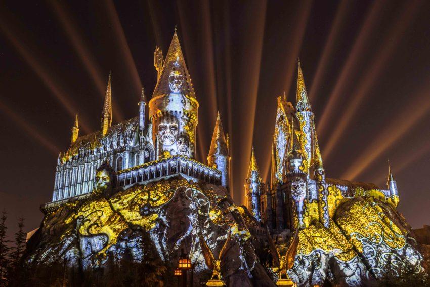 The Dark Arts at Hogwarts Castle Light Projection Show at Universal Studios Hollywood Photo credit: Universal Orlando