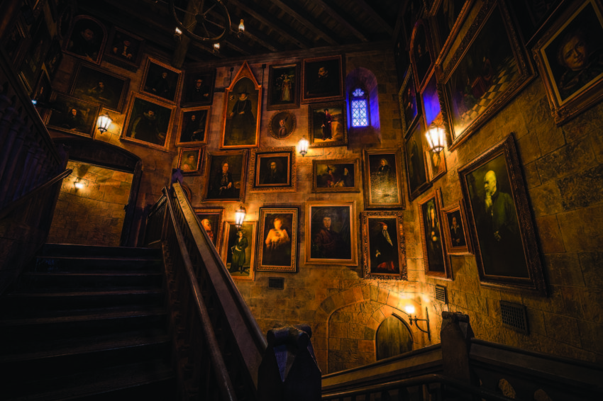 Just like the Harry Potter films, portraits line the walls of Hogwarts castle, the home of Harry Potter and the Forbidden Journey – the marquee attraction of The Wizarding World of Harry Potter.
