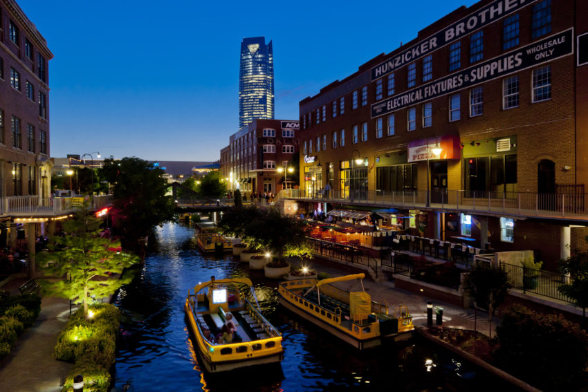 A historic cruise through Bricktown in Oklahoma City is one of many things to do in OKC.