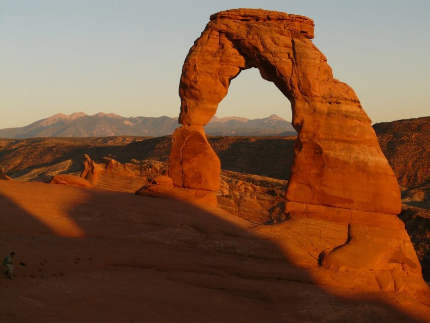 Arches National Park lies north of Moab in the state of Utah. Bordered by the Colorado River in the southeast, it's known as the site of more than 2,000 natural sandstone arches, such as the massive, red-hued Delicate Arch in the east