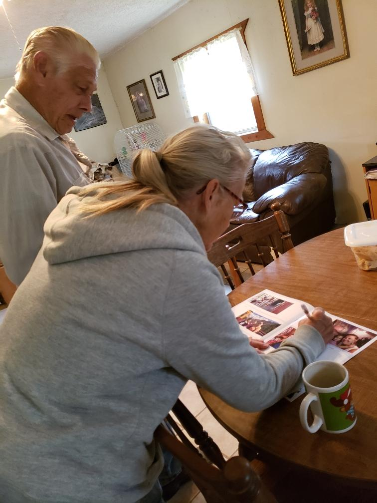 My parents love receiving their monthly journal with photos of us (adult children),, their grandkids and their great-grandkids!