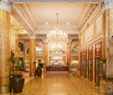 Lobby of the historic and beautiful Bellevue Hotel Philadelphia.