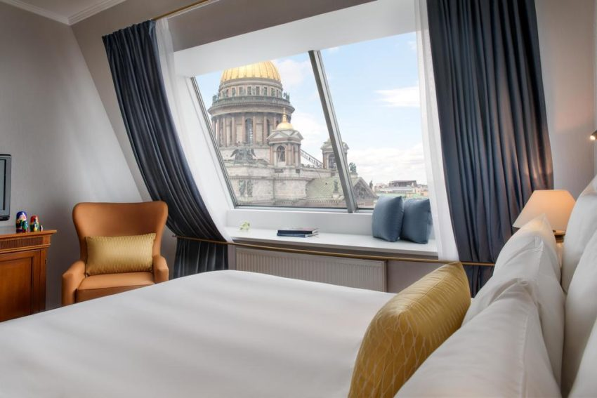 Book a suite with a view of St. Isaac's Cathedral at the Renaissance St. Petersburg Baltic.