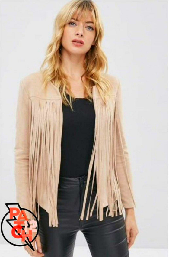 Trends in western wear for women bring fringe jackets back, including this Handmade Playful Fringe. Faux Suede Fringe Jacket- from Etsy.