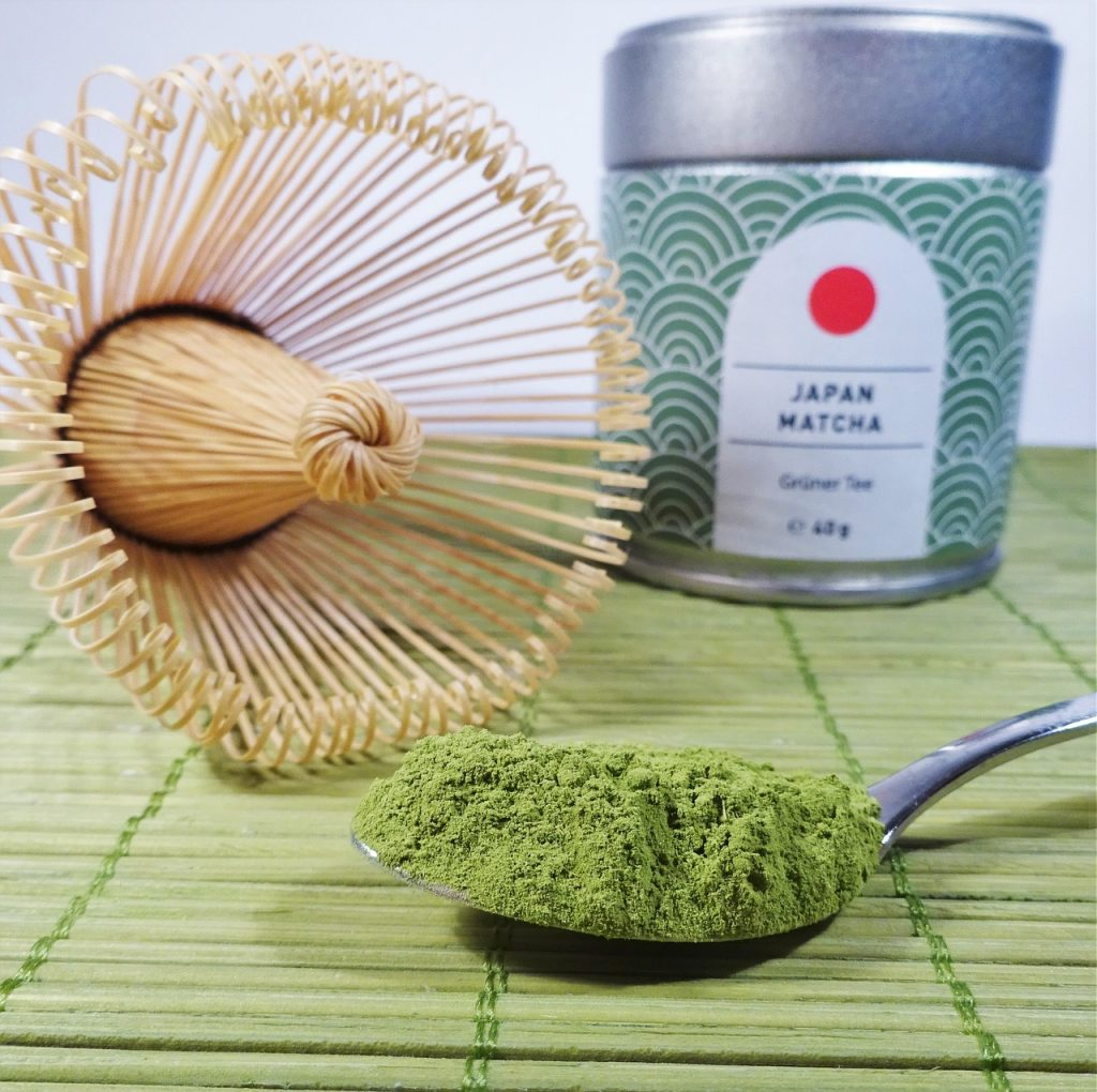 Matcha is a high-grade green tea ground into powdered form. The green tea powder is whisked into hot water, instead of steeped, to form a frothy drink. The meditative act of preparing, presenting, and sipping matcha is the backbone of the Japanese tea ceremony