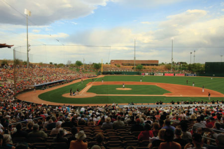 Get in on all the Major League action with a family vacation to watch spring training in Phoenix, pictured here Camelback Ranch. Photo credit: Arizona Office of Tourism