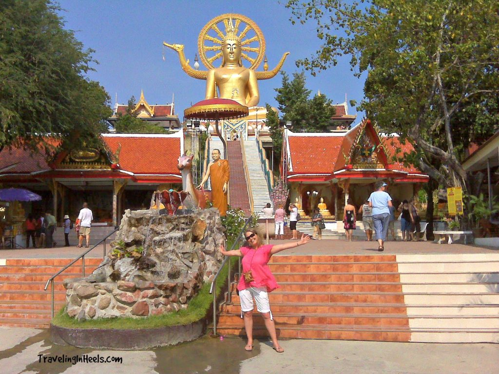 Big Buddha temple sits majestically on a small rocky island off Koh Samui's north-eastern corner. Known locally as Wat Phra Yai, its golden, 12-metre seated Buddha statue was built in 1972 and remains one of the island's most popular attractions.