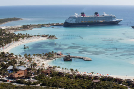 he Disney Dream docks at Castaway Cay, Disney's private island in the tropical waters of the Bahamas, reserved exclusively for Disney Cruise Line guests. In a setting of crystal-clear turquoise waters, powdery white-sand beaches and lush landscapes, the 1,000-acre island offers one-of-a-kind areas and activities for every member of the family. (David Roark, photographer)