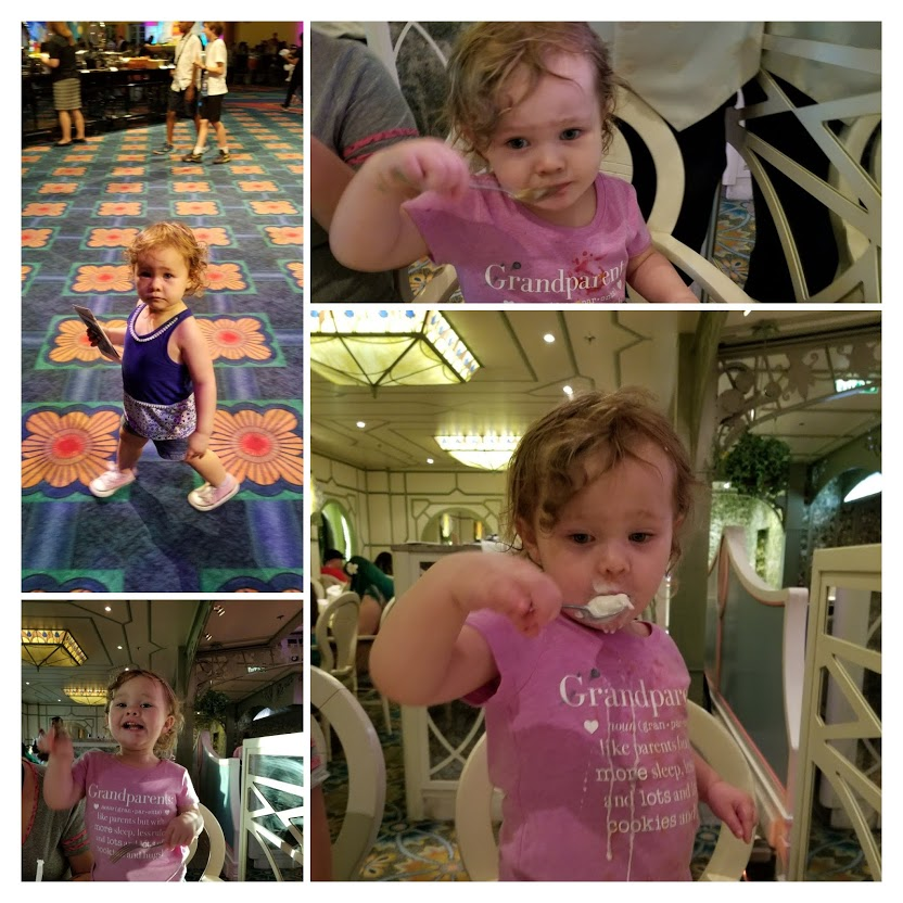 On the Disney Dream, my 2 year-old granddaughter loved the desserts (surprise!).