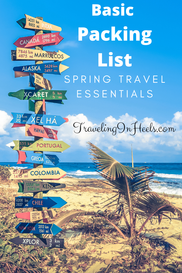 Our basic packing list for spring travel essentials ranges from carry-on or checked bags to what essentials to pack #traveltips #carryon #basicpackinglist