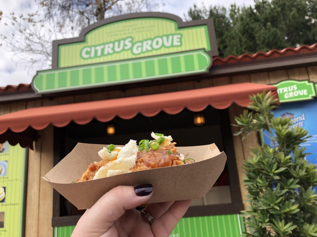 Located at the Disney California Adventure Park, Disneyland Food & Wine Tour features Marketplace Kiosks. each with adifferent menu, offering tapas-sized bites and beverages local to California and inspired from around the world.