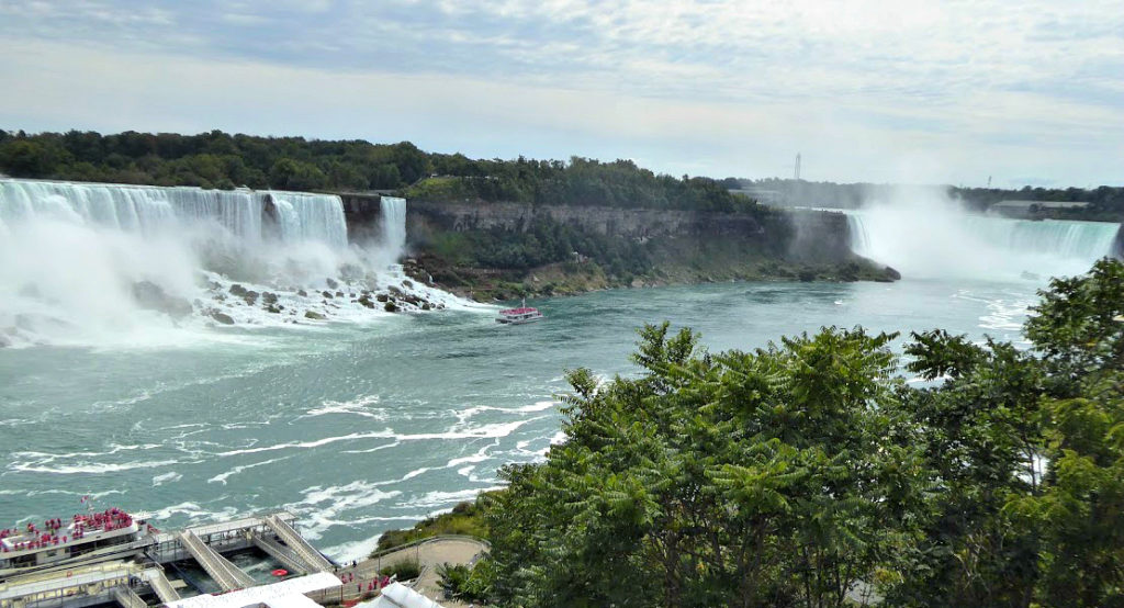 View the magnificent Niagara falls on both the U.S. and Canadian borders, pictured here the falls on the Canadian border.