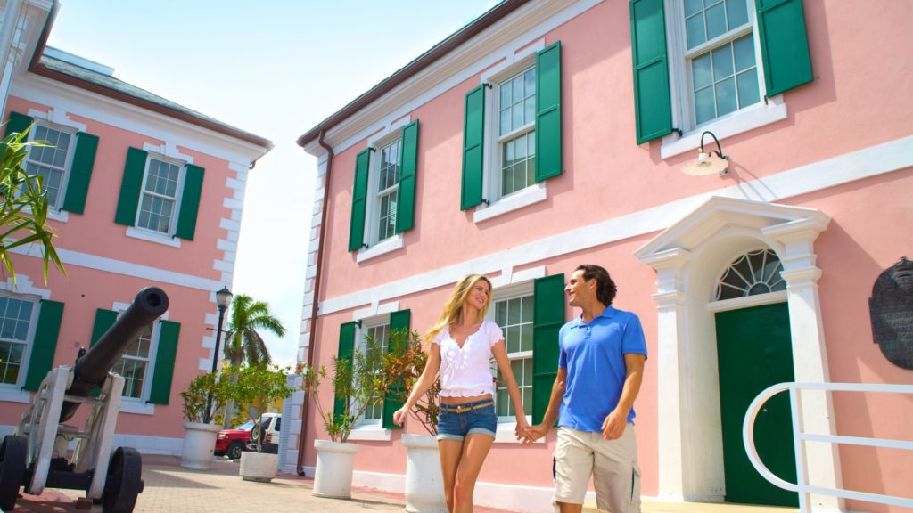 Rich in history and dating back to the late 1700s, the pink-colored colonial buildings of Parliament Square are one of the fun things to do in Nassau, Bahamas.