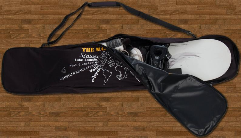 Consider personalizing your snowboard bag with a map of your snowboarding trips. Photo: Etsy