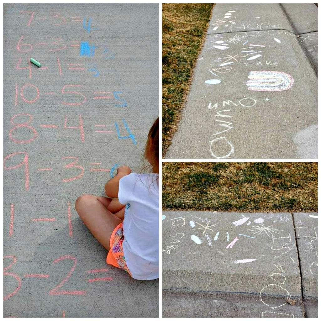 Allow your children outdoor creative time with chalk art challenge, either to do their math (like my granddaughter) or to create their own message.