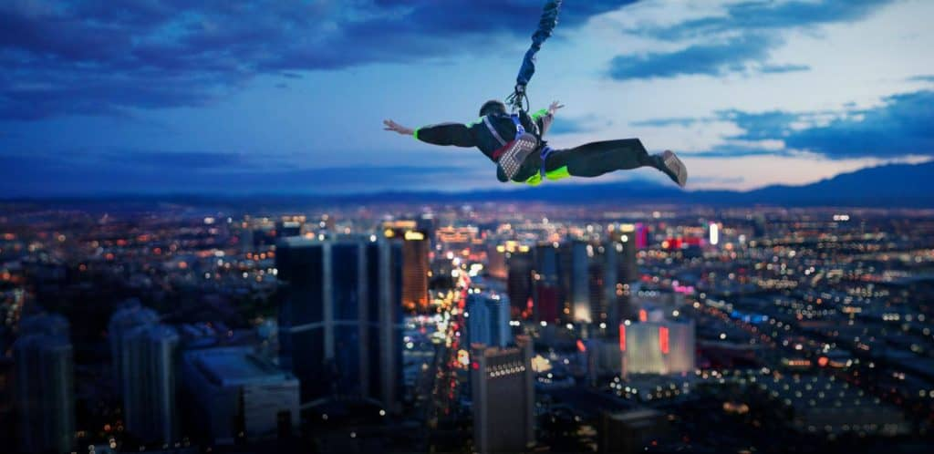 Scary, crazy, fun things to do in Las Vegas include the thrilling Sky Jump at the Stratosphere. Photo credit: The Strat