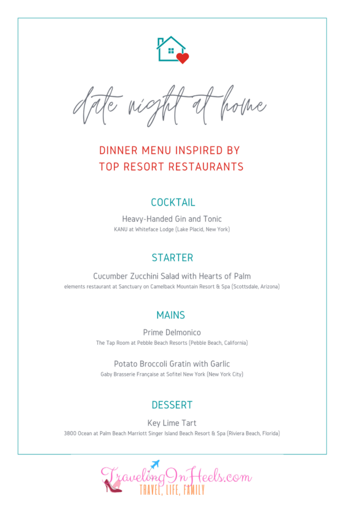 Date Night at Home Dinner menu and recipes,, inspired by top resort restaurants #datenightathomedinner #datenightathome #chefinspireddatenightathomedinner