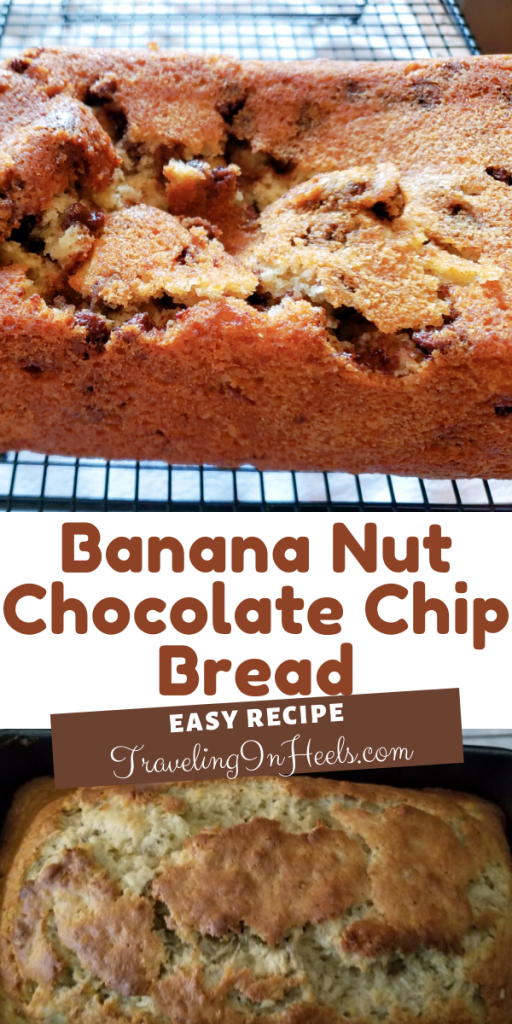 Easy Recipe Banana Bread with Nuts and Chocolate Chips #easybananabread #easybananabreadrecipe #bananabread #bananabreadrecipe #banananutchocolatechipbread #foodforhome #baking #travelinginheels #foodanddrink
