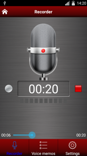 The free Voice Recorder by Green Apple Studio is a high quality voice recording application, store your recordings as voice memos and share them with your friends.