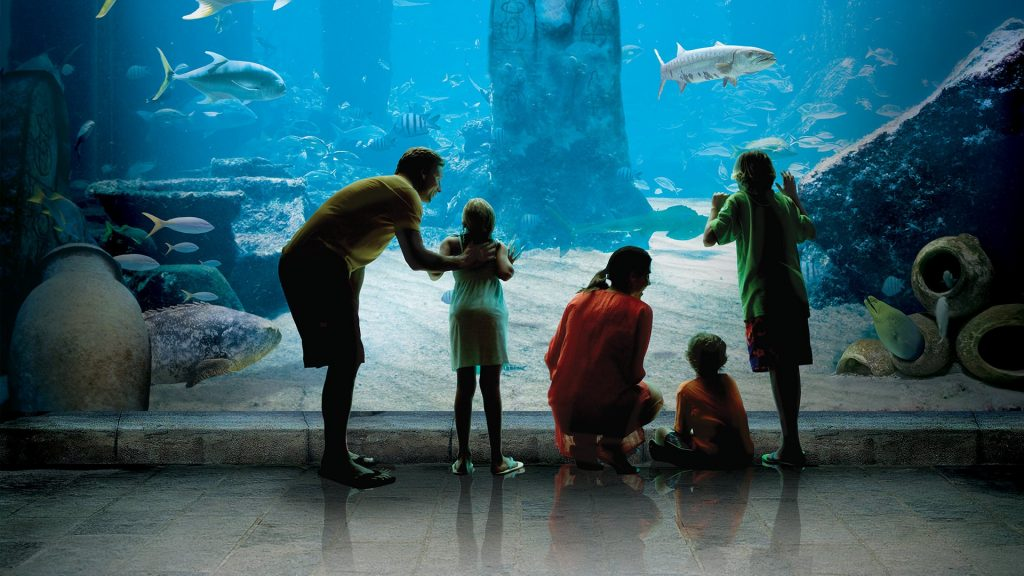 """Indoors fun includes walking through the """"tunnels"""" surrounded by aquariums filled with marine life."""