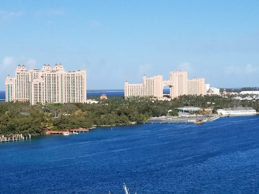 The iconic Atlantis Paradise Island, view from aboard Disney Dream cruise ship.