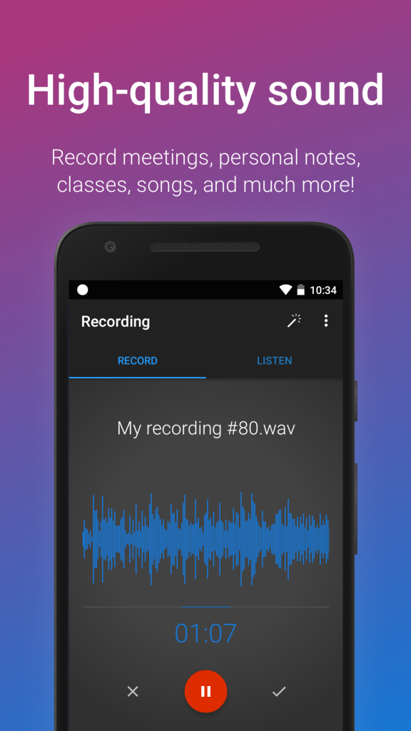 Easy Voice Recorder's high quality sound makes it a top contender, and it's $3.99 download price is very affordable.