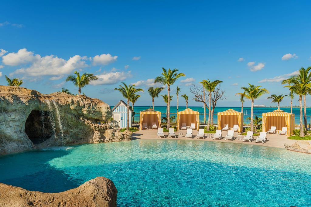 """The Grand Hyatt Baha Mar offers impressive luxury, but the kids will remember its pools, especially diving off the """"grotto"""" into Dean's Blue Hole."""