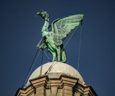 Liver birds are the mythic mascots of Liverpool, England