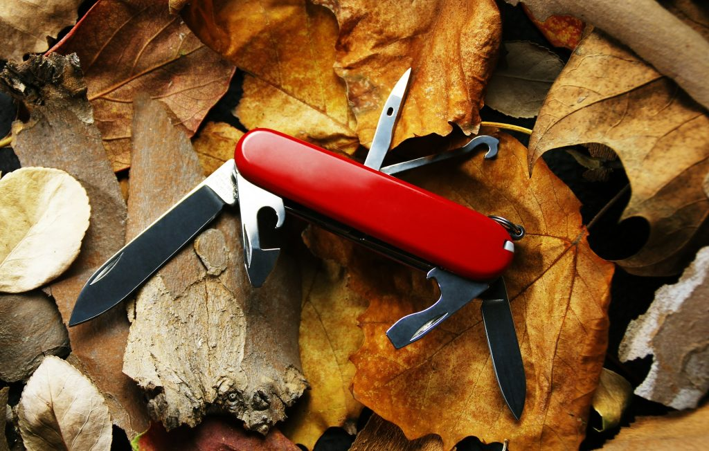 For maximum use of space, pack multi-purpose tools like a swiss pen knife for backpacking.