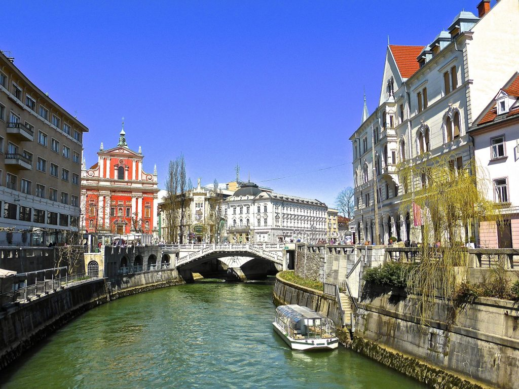 Explore the canals of Ljubljana, Slovenia.