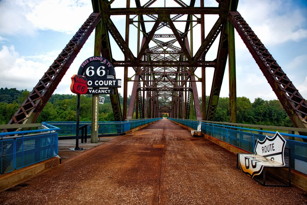Located on Route 66 in Missouri, The historic Chain of Rocks Bridge spanning the Mississippi River on the north edge of St. Louis, Missouri was opened in 1929.