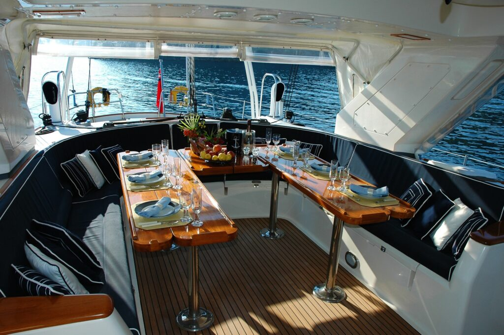 Gourmet dinners prepared and served onboard when you charter a yacht.