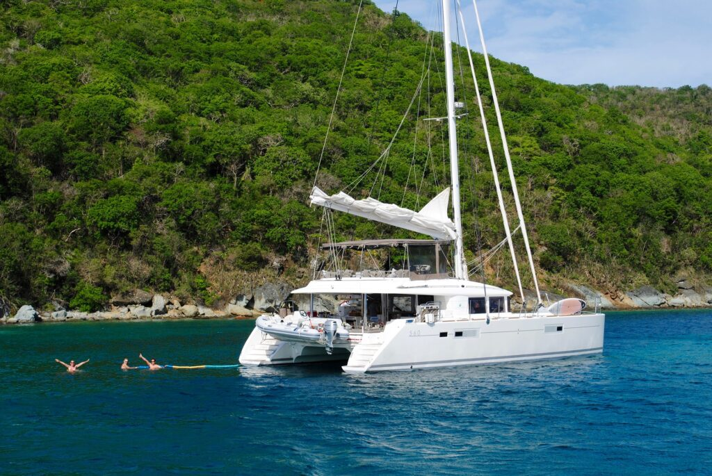 When chartering a yacht, water sports are literally steps away.