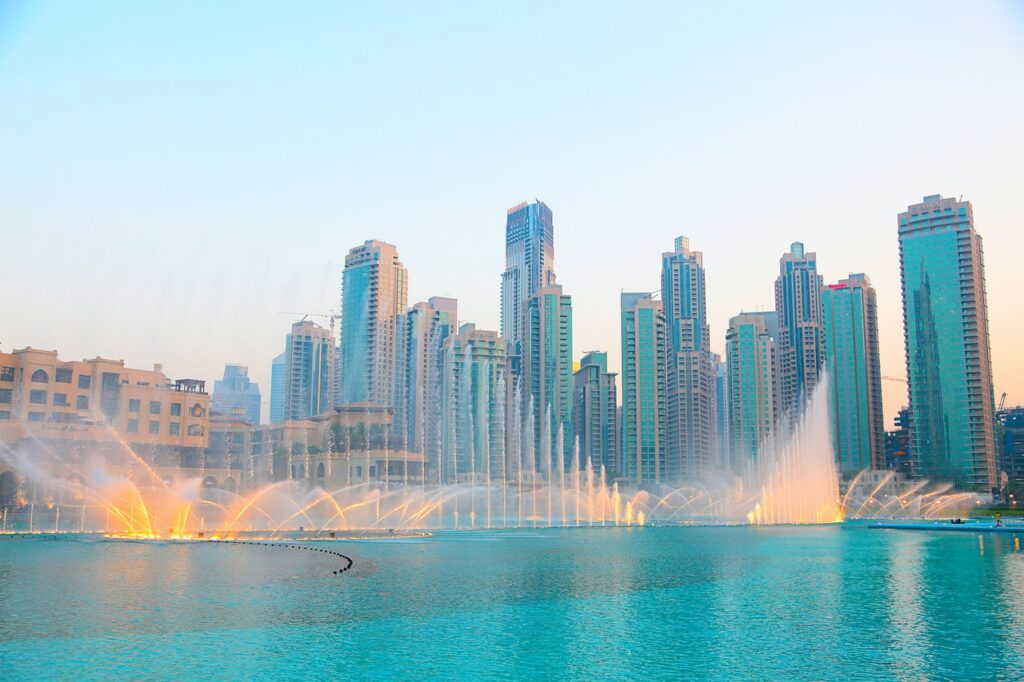 The world's largest fountain in the world at the Palm Fountain at the Pointe in Palm Jumeirah, Dubai.