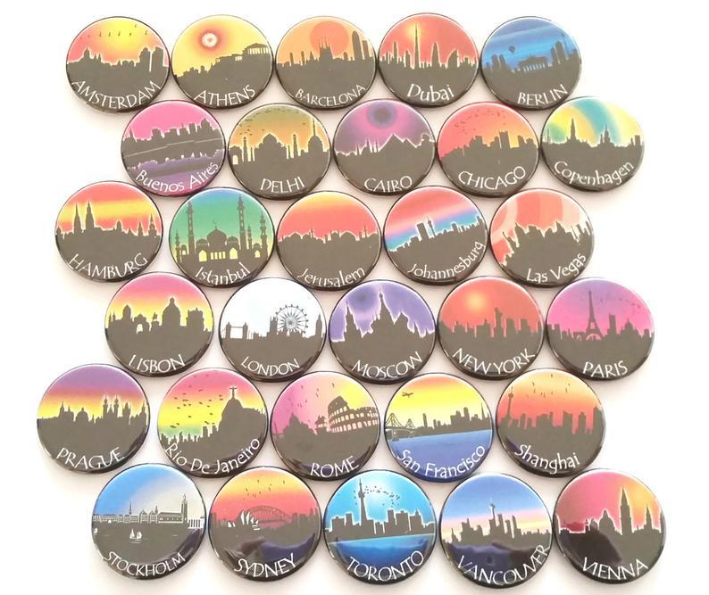 World city skyline refrigerator travel magnets. Photo: Etsy/GiftsNThisNThat