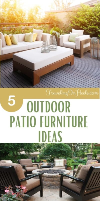 5 outdoor patio furniture ideas from day beds to fire tables. #outdoorpatiofurnitureideas #outdoorpatiofurnitre #outdoorpatio #outdoordecor #patiofurniture #outdoorfurnitureideas #outdoorlifestyle