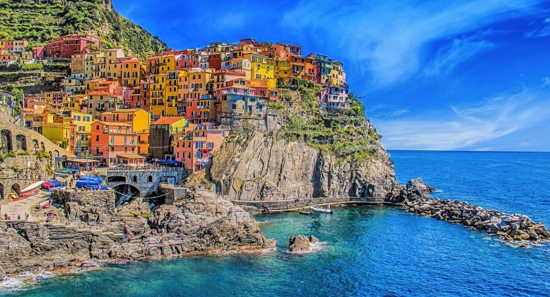 Cinque Terre is a string of centuries-old seaside villages on the rugged Italian Riviera coastline