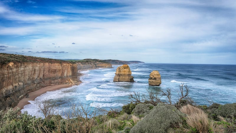 The Great Ocean Road begins a 90-minute drive from Melbourne's city center.