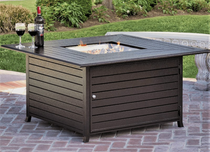Add a fire table to your outdoor patio furniture.